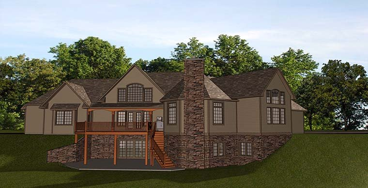 Bungalow , Cottage , Country , Craftsman , Rear Elevation of Plan 50764