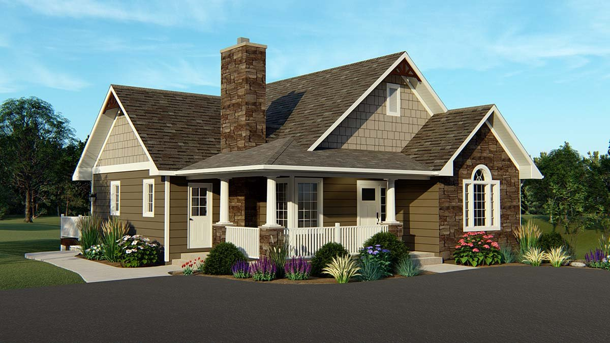 Country, Craftsman House Plan 50765 with 4 Beds, 3 Baths Elevation