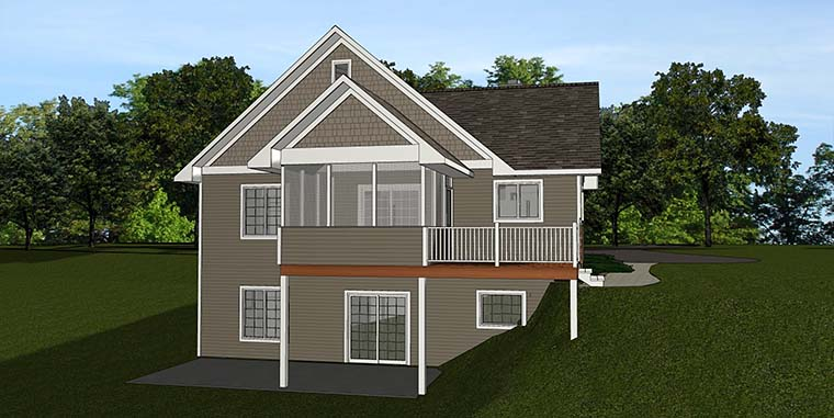 Country, Craftsman House Plan 50765 with 4 Beds, 3 Baths Rear Elevation