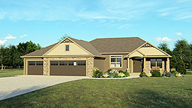 Craftsman Ranch Traditional House Plan 50768 Elevation