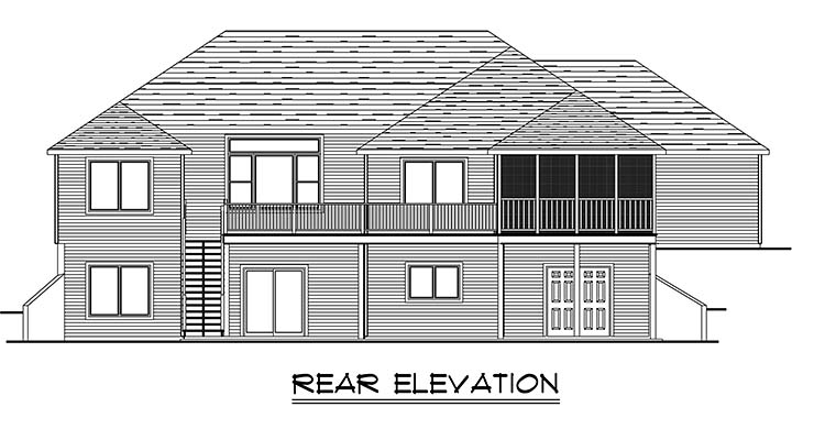 Craftsman Ranch Traditional House Plan 50768 Rear Elevation