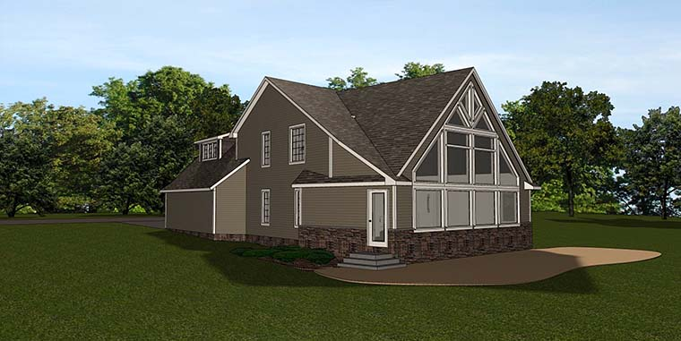 Country Traditional Rear Elevation of Plan 50770