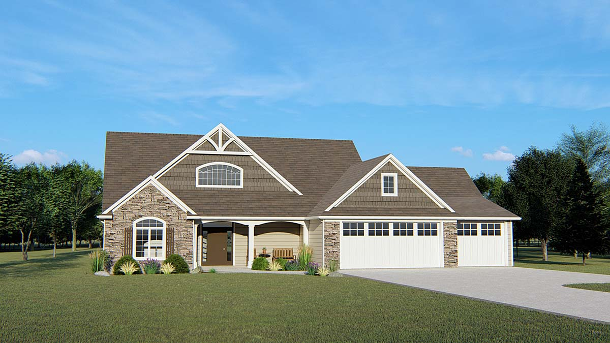 House Plan 50771 | Country, Craftsman, Traditional Style House Plan with 2638 Sq Ft, 4 Bed, 5 Bath, 3 Car Garage Elevation
