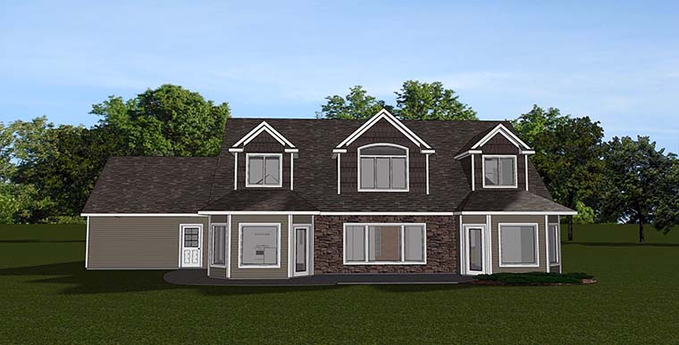 House Plan 50771 | Country, Craftsman, Traditional Style House Plan with 2638 Sq Ft, 4 Bed, 5 Bath, 3 Car Garage Rear Elevation