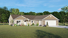 Ranch , Traditional House Plan 50778 with 3 Beds, 3 Baths, 2 Car Garage Elevation