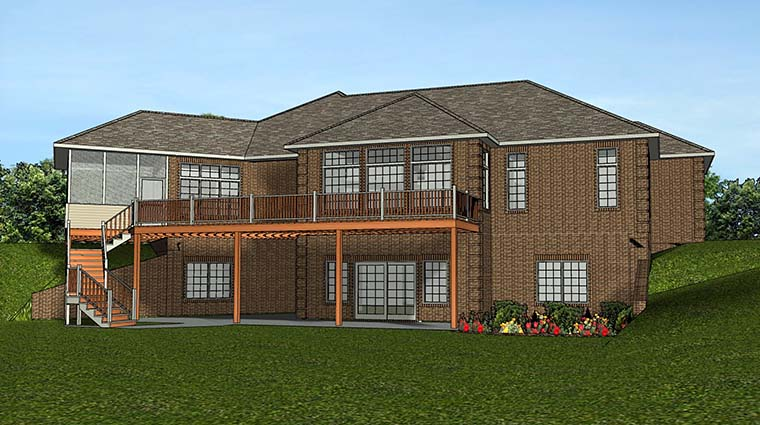 European House Plan 50780 Rear Elevation