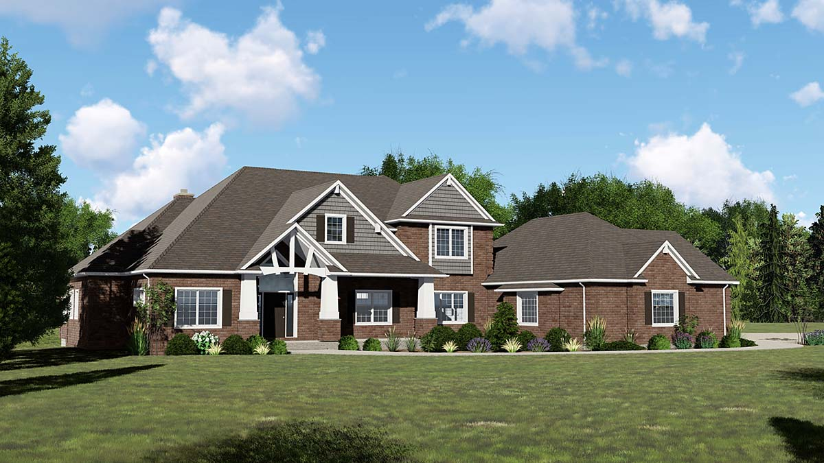 Craftsman , Traditional House Plan 50781 with 4 Beds, 4 Baths, 4 Car Garage Elevation