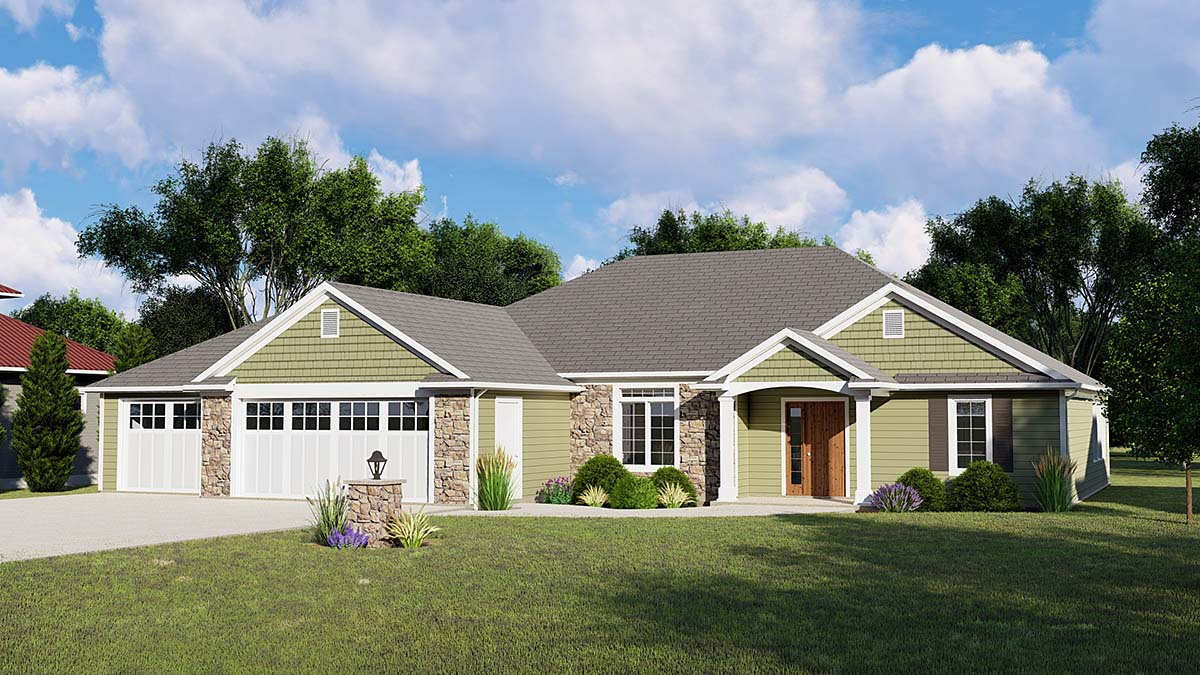Ranch House Plan 50782 with 3 Beds, 2 Baths, 3 Car Garage Elevation