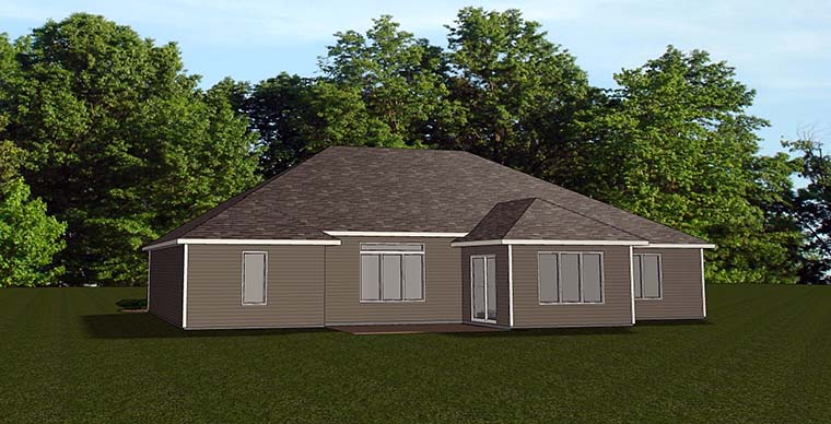 Ranch House Plan 50782 Rear Elevation