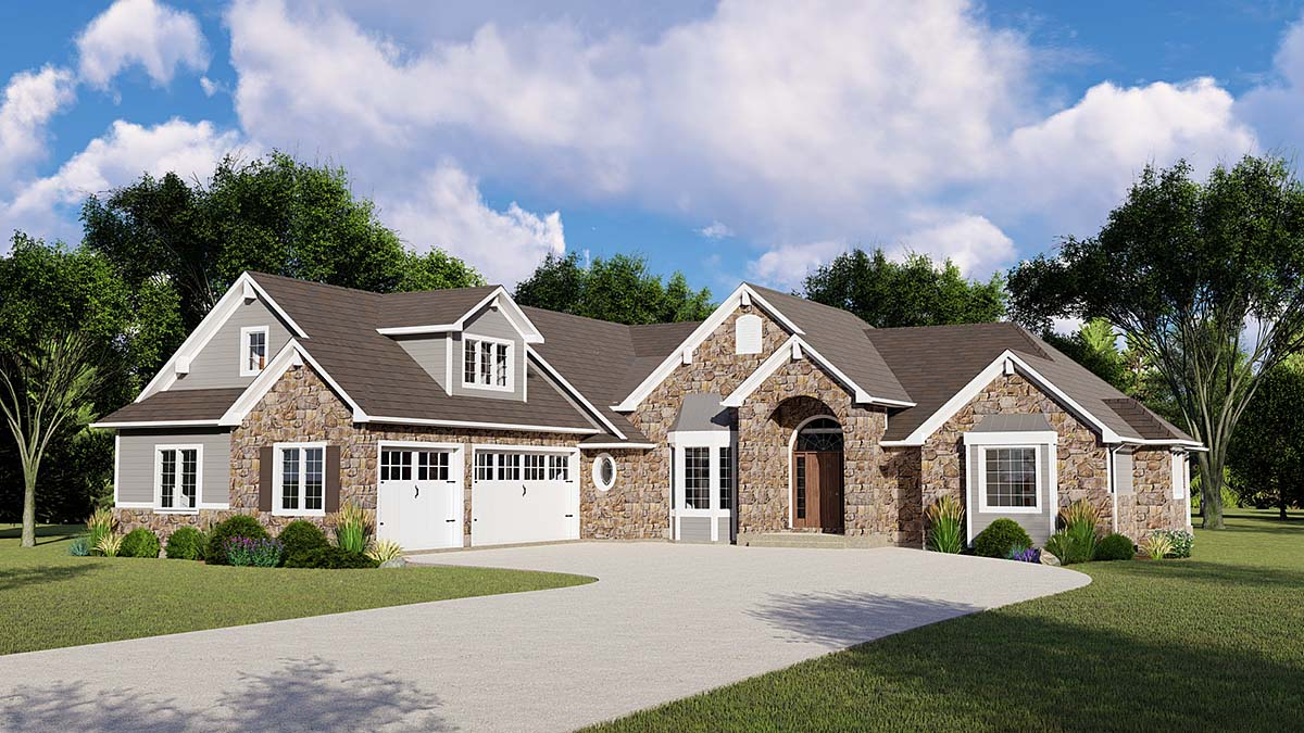 European, Traditional House Plan 50783 with 5 Beds, 4 Baths, 3 Car Garage Elevation