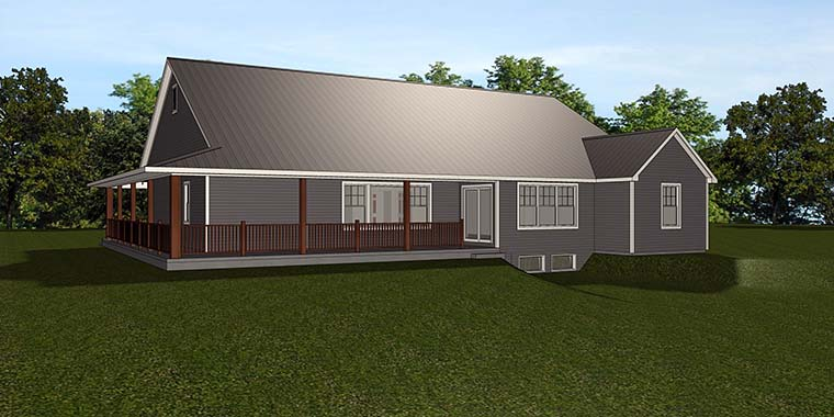 Country Craftsman Ranch Traditional House Plan 50784 Rear Elevation