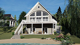 Coastal , Cabin House Plan 50788 with 3 Beds, 4 Baths Elevation