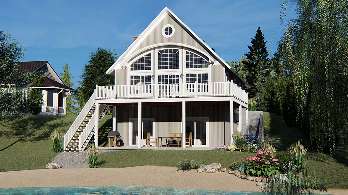 Cabin, Coastal House Plan 50788 with 3 Beds, 4 Baths Elevation
