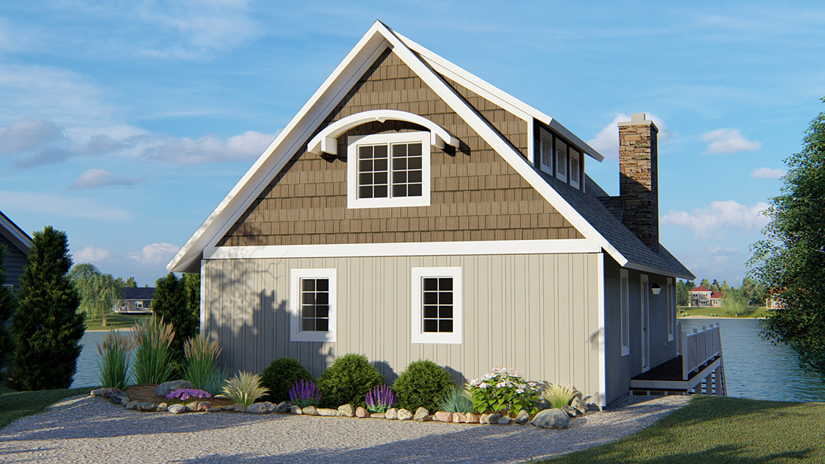 Cabin, Coastal House Plan 50788 with 3 Beds, 4 Baths Rear Elevation
