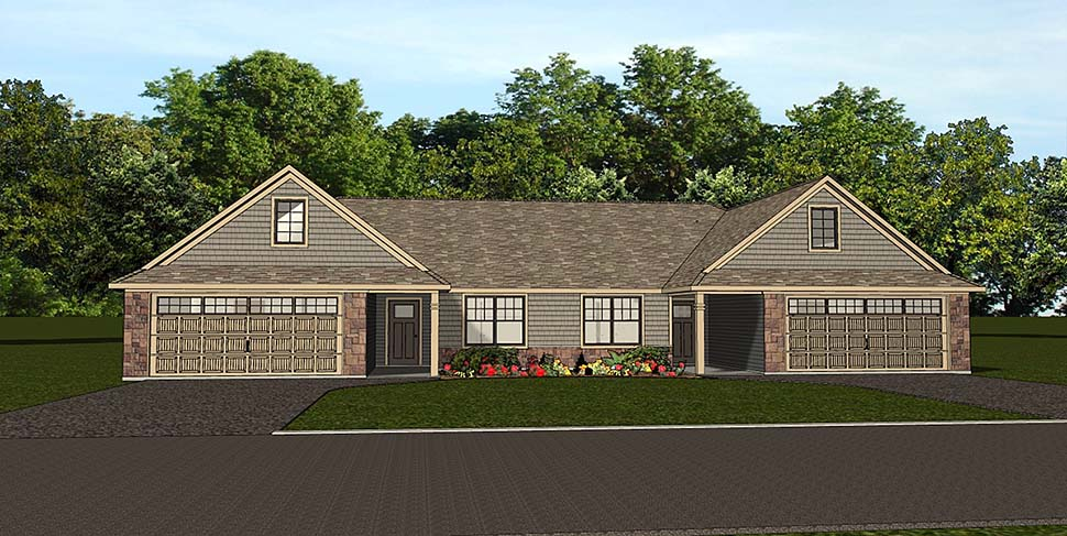 Traditional , Ranch , Craftsman , Country , Cottage , Colonial Multi-Family Plan 50789 with 6 Beds, 4 Baths, 4 Car Garage Elevation