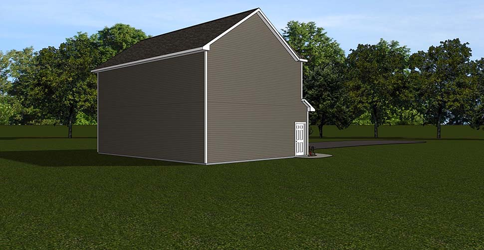 Garage Plan 50792 | Style Plan, 1 Bathrooms, 2 Car Garage Rear Elevation