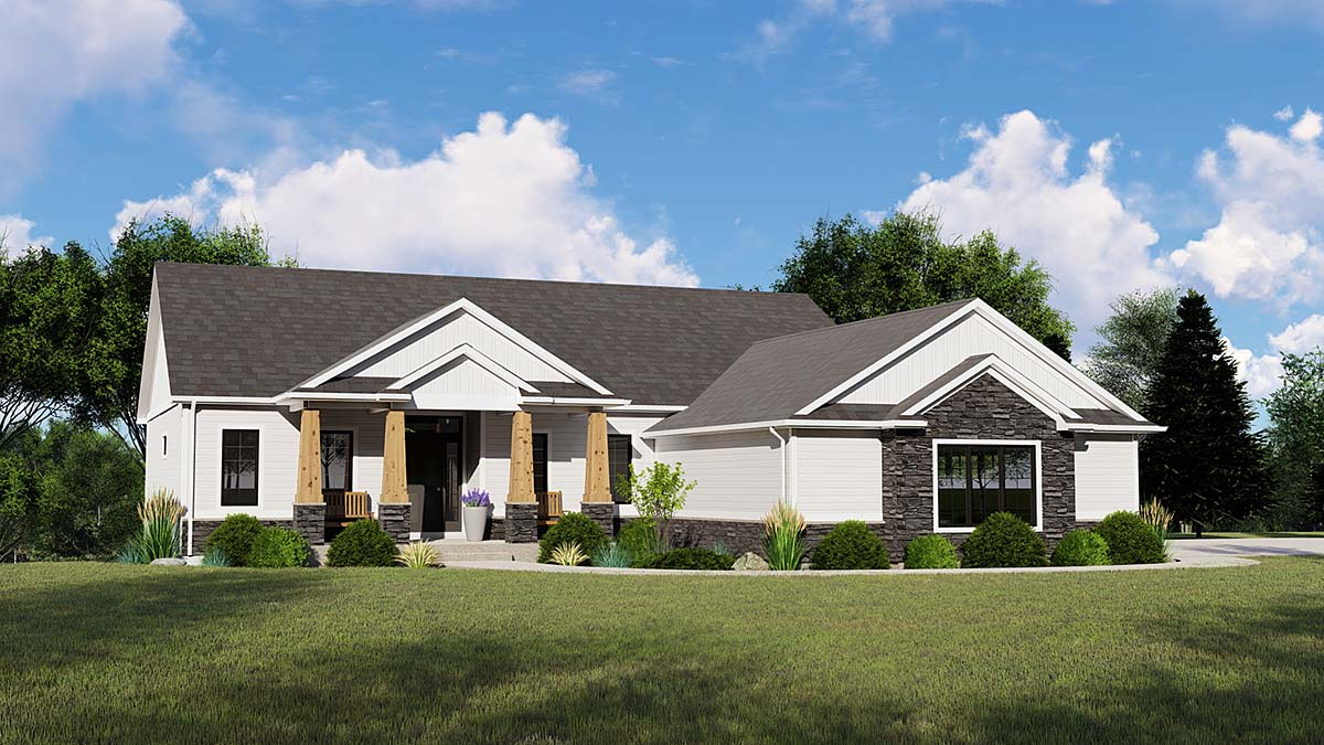 Bungalow, Country, Craftsman, Ranch House Plan 50795 with 3 Beds, 3 Baths, 2 Car Garage Elevation