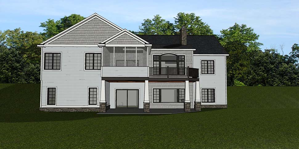 Bungalow, Country, Craftsman, Ranch House Plan 50795 with 3 Beds, 3 Baths, 2 Car Garage Rear Elevation