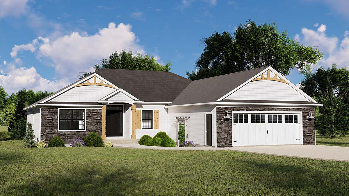 Bungalow, Country, Craftsman, Ranch, Traditional House Plan 50796 with 3 Beds, 4 Baths, 2 Car Garage Elevation