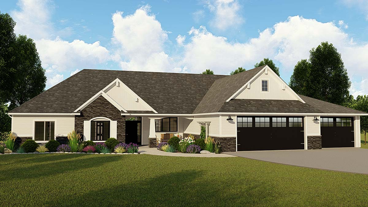 Bungalow, Country, Craftsman, Ranch, Traditional House Plan 50797 with 3 Beds, 3 Baths, 3 Car Garage Elevation