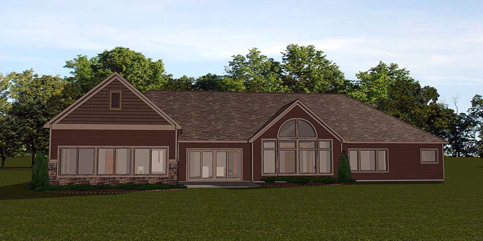 Bungalow, Country, Craftsman, Ranch, Traditional House Plan 50797 with 3 Beds, 3 Baths, 3 Car Garage Rear Elevation