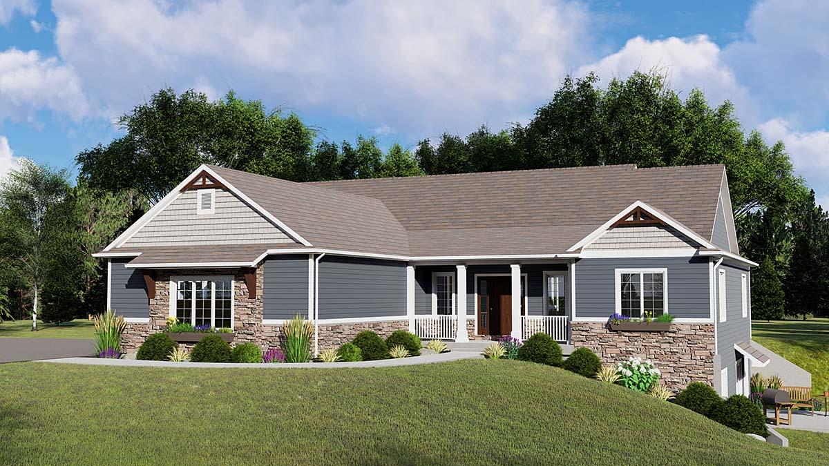 Bungalow , Country , Craftsman , Traditional , Elevation of Plan 50798