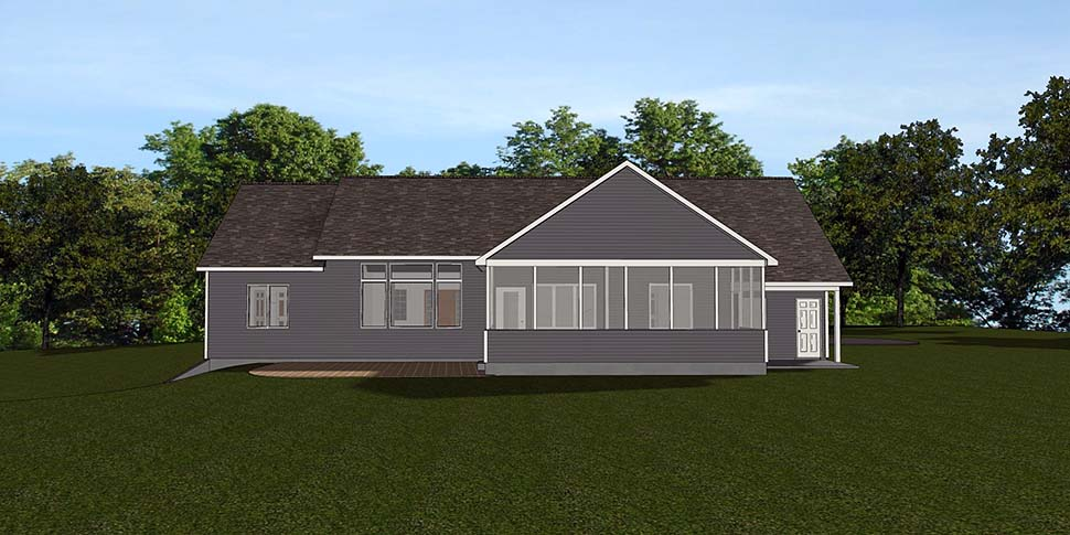 Bungalow , Country , Craftsman , Traditional , Rear Elevation of Plan 50798