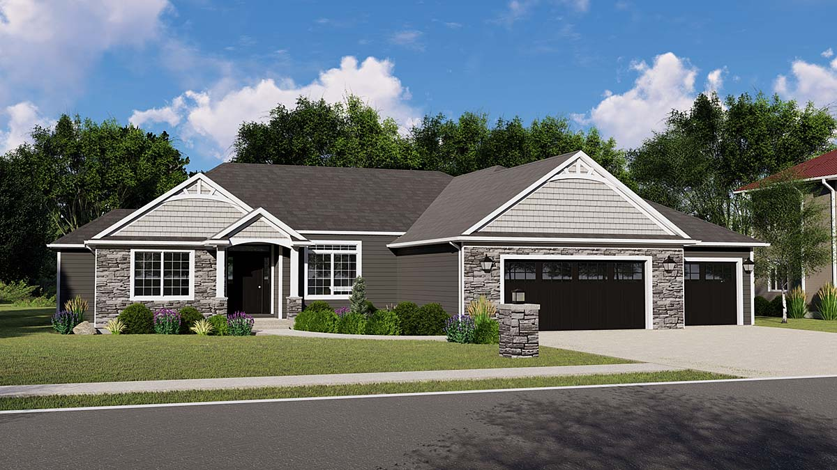 Bungalow, Country, Craftsman, Traditional House Plan 50799 with 4 Beds, 4 Baths, 3 Car Garage Elevation