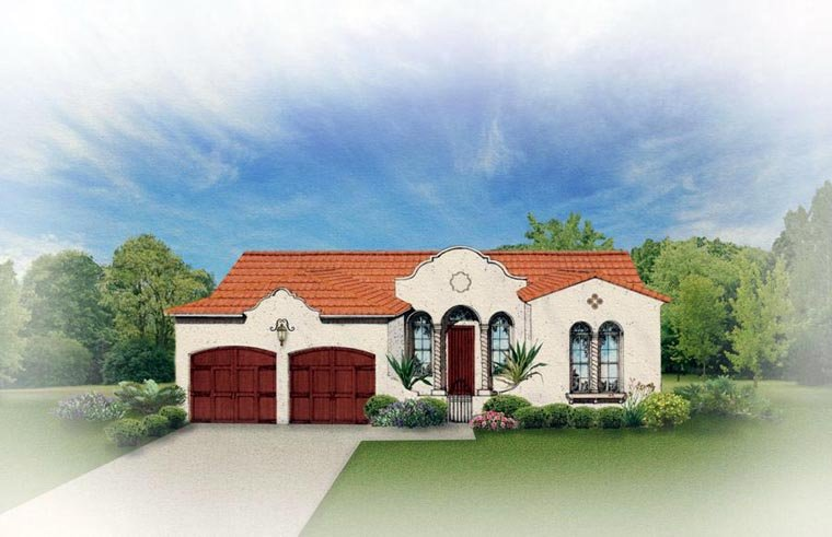 Mediterranean House Plan 50816 with 3 Beds , 2 Baths , 2 Car Garage Elevation