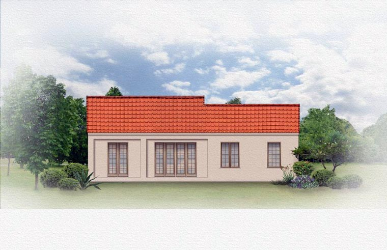 Mediterranean Rear Elevation of Plan 50818