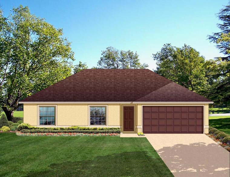 Colonial House Plan 50822 with 3 Beds, 2 Baths, 2 Car Garage Elevation