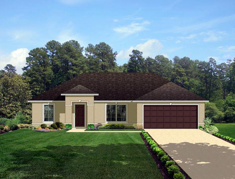 European House Plan 50825 with 3 Beds, 2 Baths, 2 Car Garage Elevation