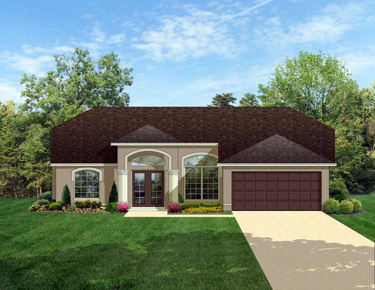 Colonial House Plan 50826 with 3 Beds, 2 Baths, 2 Car Garage Elevation