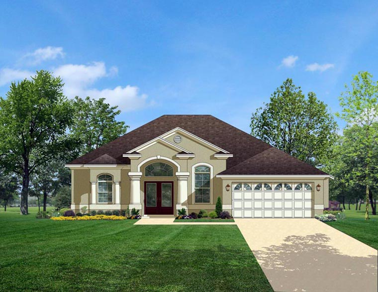 European House Plan 50827 with 3 Beds, 2 Baths, 2 Car Garage Elevation