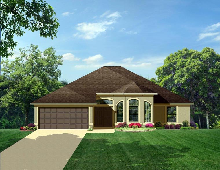 House Plan 50830 | Colonial Style Plan with 1850 Sq Ft, 3 Bedrooms, 2 Bathrooms, 2 Car Garage Elevation