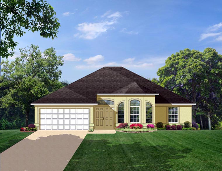 House Plan 50832 | Colonial Style Plan with 2159 Sq Ft, 4 Bedrooms, 3 Bathrooms, 2 Car Garage Elevation