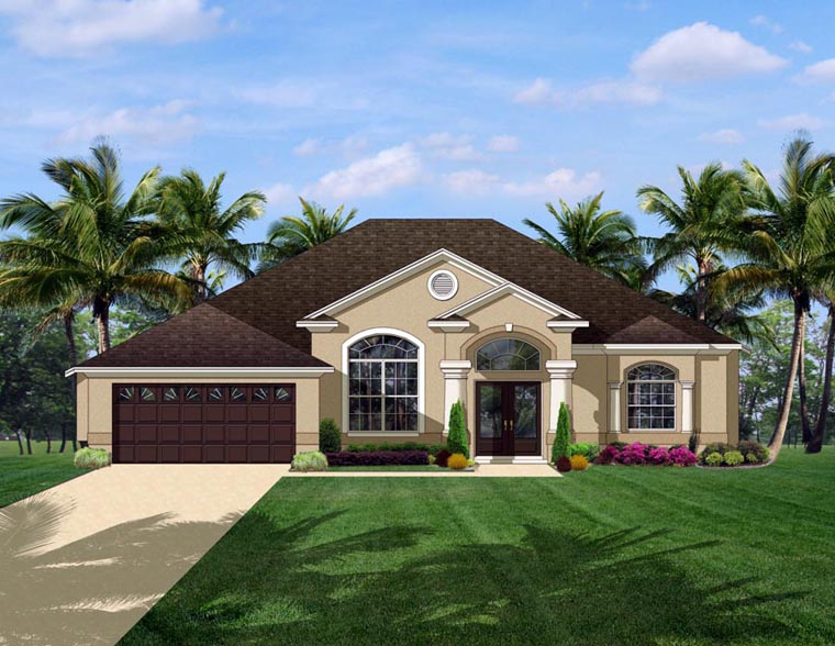 European House Plan 50833 with 3 Beds, 2 Baths, 2 Car Garage Elevation