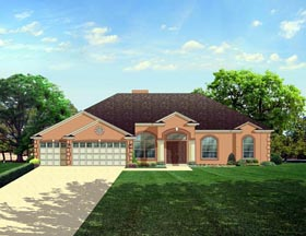 European House Plan 50836 Elevation