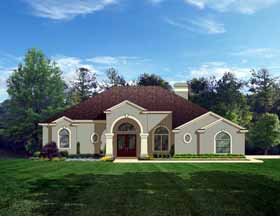 House Plan 50837   European Style Plan with 2414 Sq Ft, 4 Bedrooms, 3 Bathrooms, 3 Car Garage Elevation