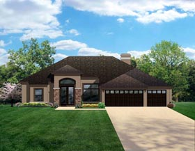 House Plan 50839 | Craftsman Style Plan with 2448 Sq Ft, 4 Bedrooms, 3 Bathrooms, 3 Car Garage Elevation