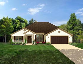 Colonial House Plan 50842 with 4 Beds, 3 Baths, 2 Car Garage Elevation