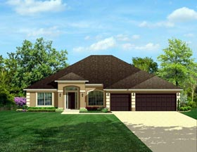House Plan 50844 | Colonial Style Plan with 2508 Sq Ft, 4 Bedrooms, 3 Bathrooms, 3 Car Garage Elevation
