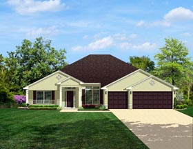 Colonial House Plan 50846 with 4 Beds, 3 Baths, 3 Car Garage Elevation