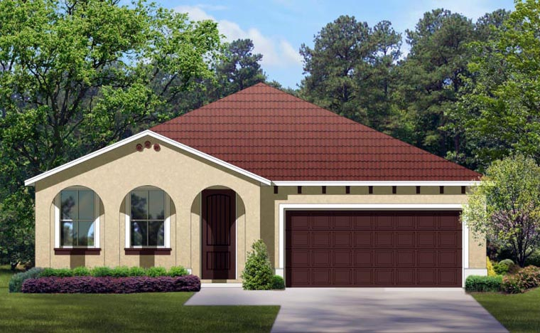 Mediterranean House Plan 50854 with 4 Beds, 3 Baths, 2 Car Garage Front Elevation