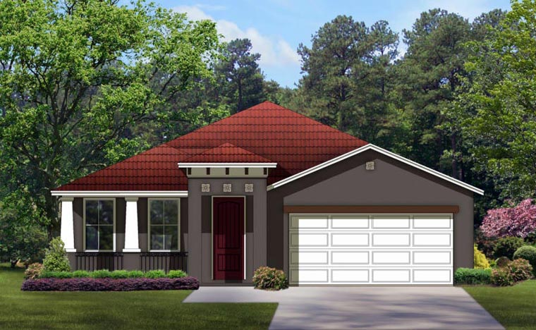 Craftsman House Plan 50855 with 4 Beds, 3 Baths, 2 Car Garage Elevation