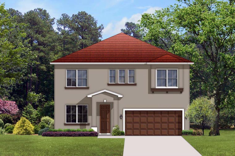 Mediterranean House Plan 50856 with 4 Beds, 3 Baths, 2 Car Garage Elevation