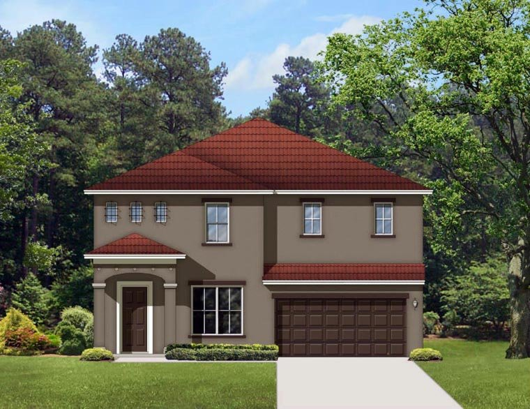 Mediterranean House Plan 50860 with 5 Beds, 3 Baths, 2 Car Garage Elevation