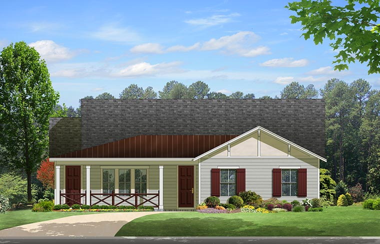 House Plan 50866 | Cottage Country Florida Style Plan with 2220 Sq Ft, 3 Bedrooms, 3 Bathrooms, 2 Car Garage Elevation