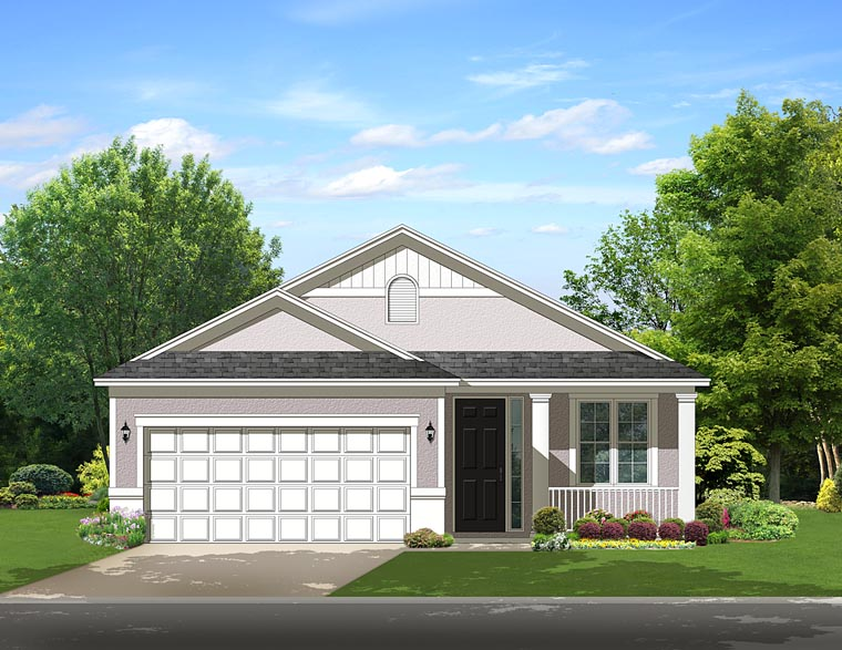 Florida, Traditional House Plan 50867 with 2 Beds, 1 Baths, 2 Car Garage Elevation