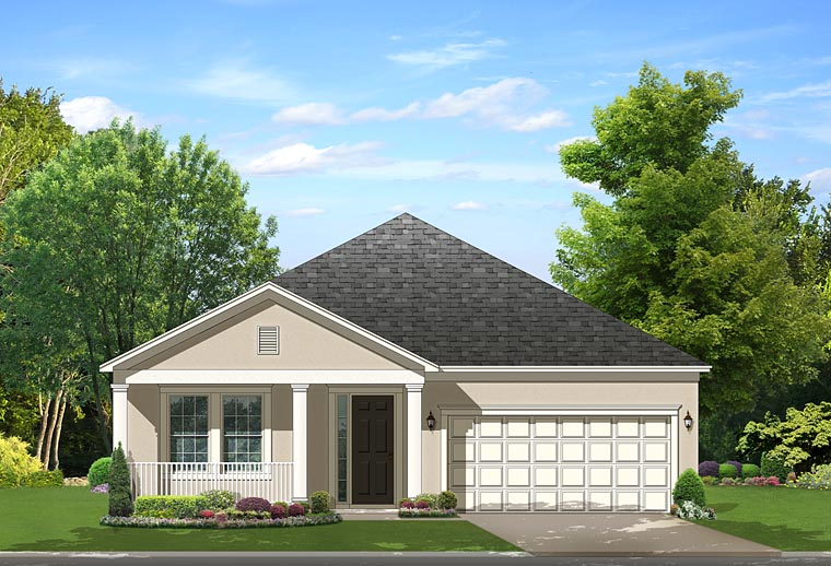 Contemporary Florida Traditional House Plan 50873 Elevation